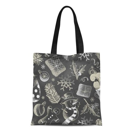 ASHLEIGH Canvas Bag Resuable Tote Grocery Shopping Bags Christmas Chalk Snowman Gingerbread Man Mistletoe Cup of Cocoa Spruce Branches Tote Bag - Snowman Out Of Cups