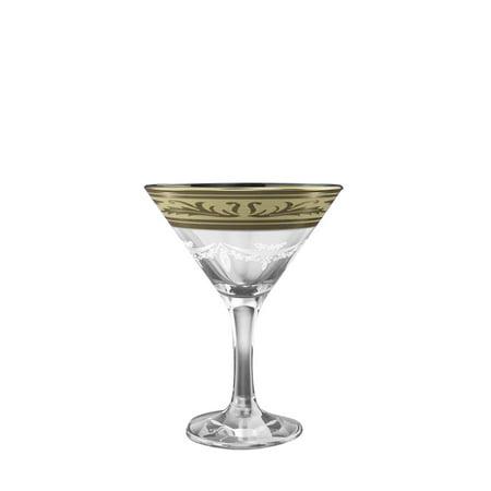 Crystal Goose GX-09-410, 5.7 oz Cocktail Martini Glasses with Platinum-Plated Rim, Long Stem Cocktail Glasses with Platinum Sputtering, 6 Piece Set