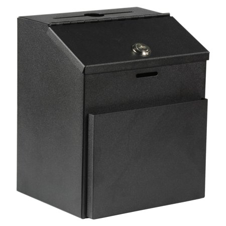 Include Envelopes - Suggestion Box with Lock for Wall Mount or Tabletop Use, Locking Hinged Lid, Metal Ballot Box with Pocket for Donation Forms or Envelopes (Not Included), Black (STBOXBLK)