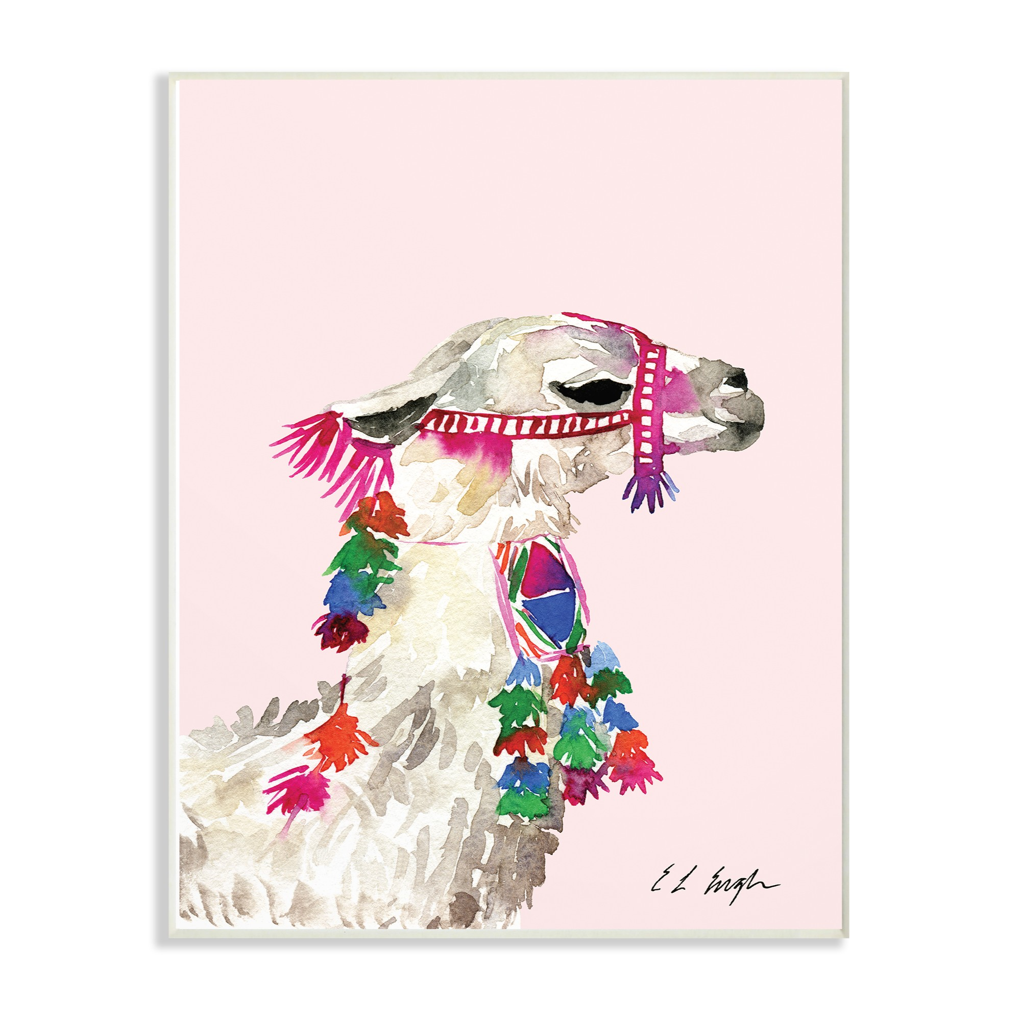 12 Home Decor Gift Ideas From Walmart: The Stupell Home Decor Collection Pink Llama Decorated