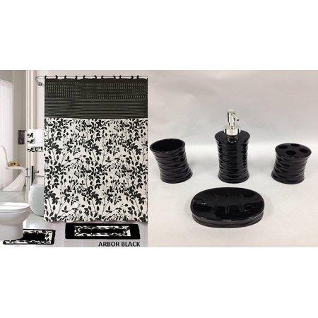 22 Piece Bath Rug Set Black White Beige Leaf Print