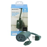 Merkury Innovations Indoor/Outdoor Wi-Fi Smart Plug, Requires 2.4 GHz Wi-Fi (Green)