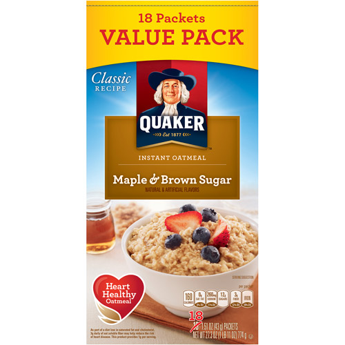 Quaker: Instant Oatmeal Maple & Brown Sugar Cereal, 27.3 Oz