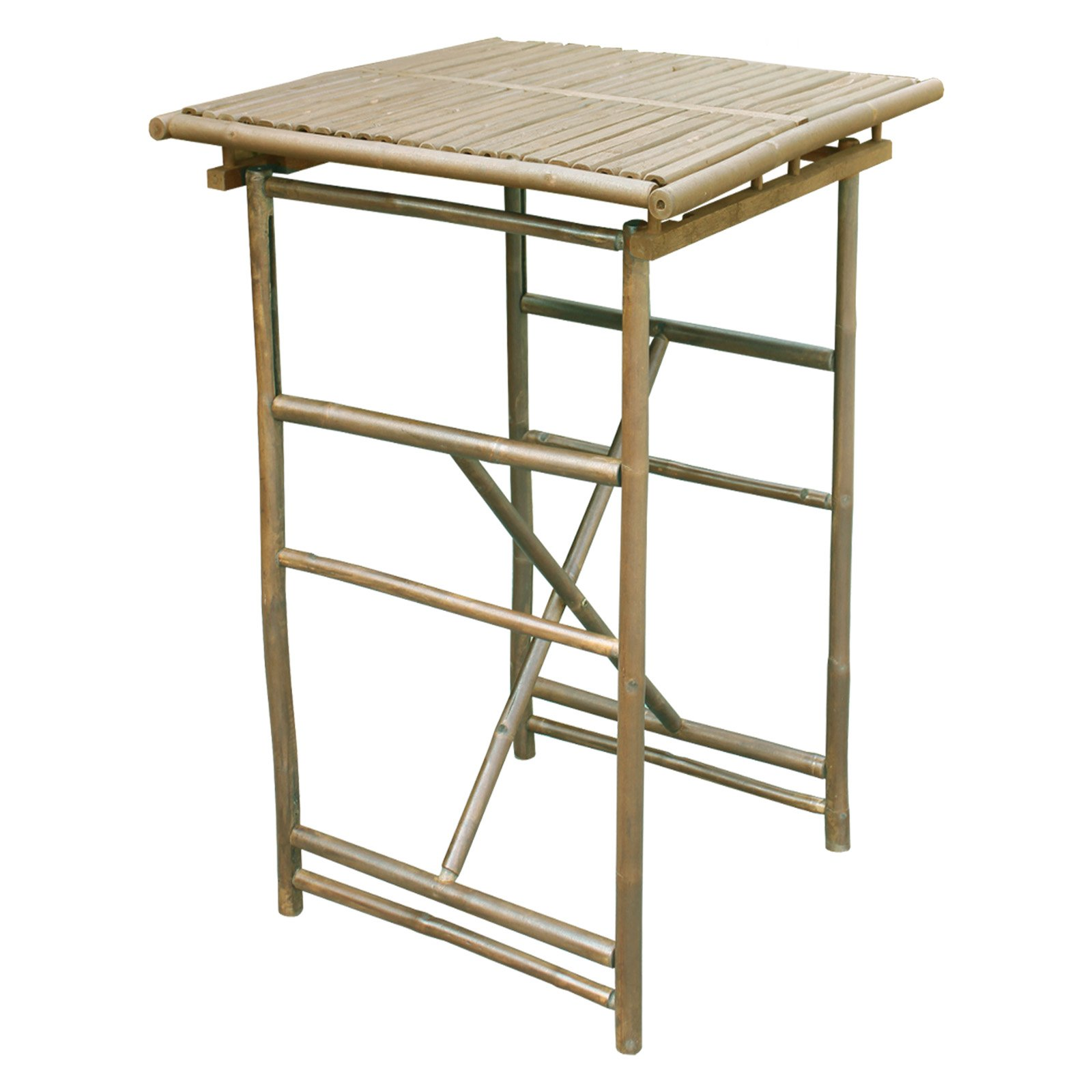 Zew Hand Crafted Square Bamboo Folding Bar Height Patio Table