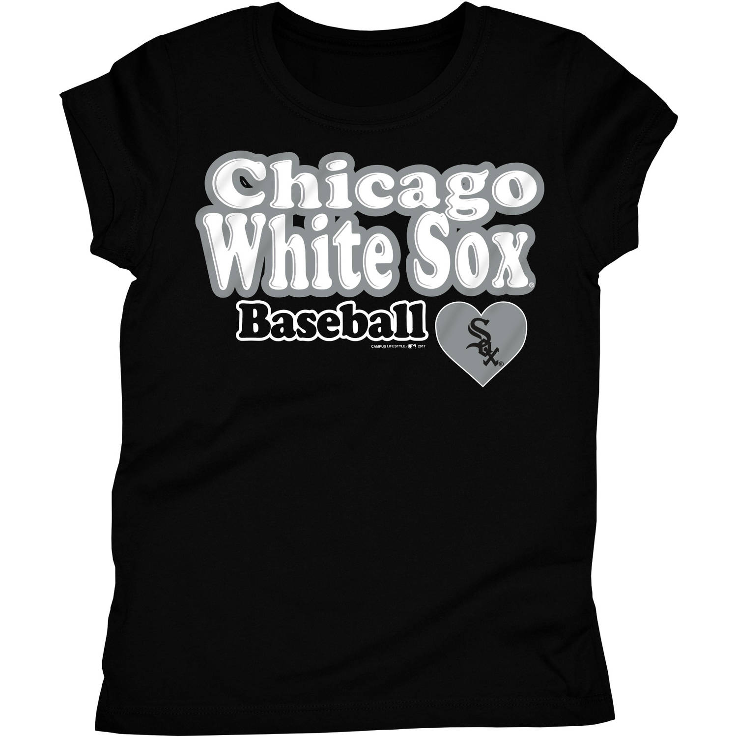 MLB Chicago White Sox Girls Short Sleeve Team Color Graphic Tee