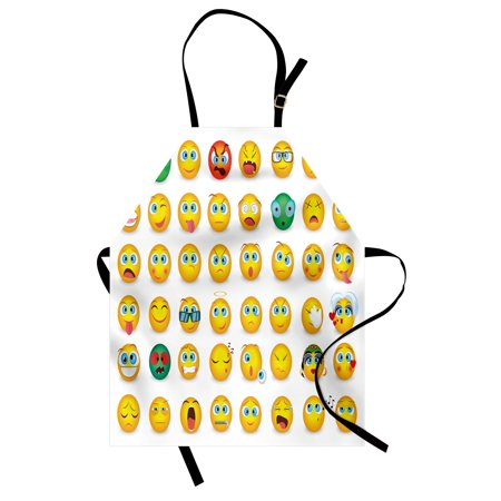 Emoji Apron Cartoon Like Smiley Faces of Mosters Girls Couple Happy Sad Angry Furious Moods Print, Unisex Kitchen Bib Apron with Adjustable Neck for Cooking Baking Gardening, Multicolor, by Ambesonne