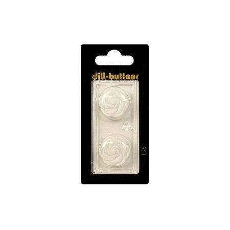Dill Buttons 20mm 2pc Shank Flower White