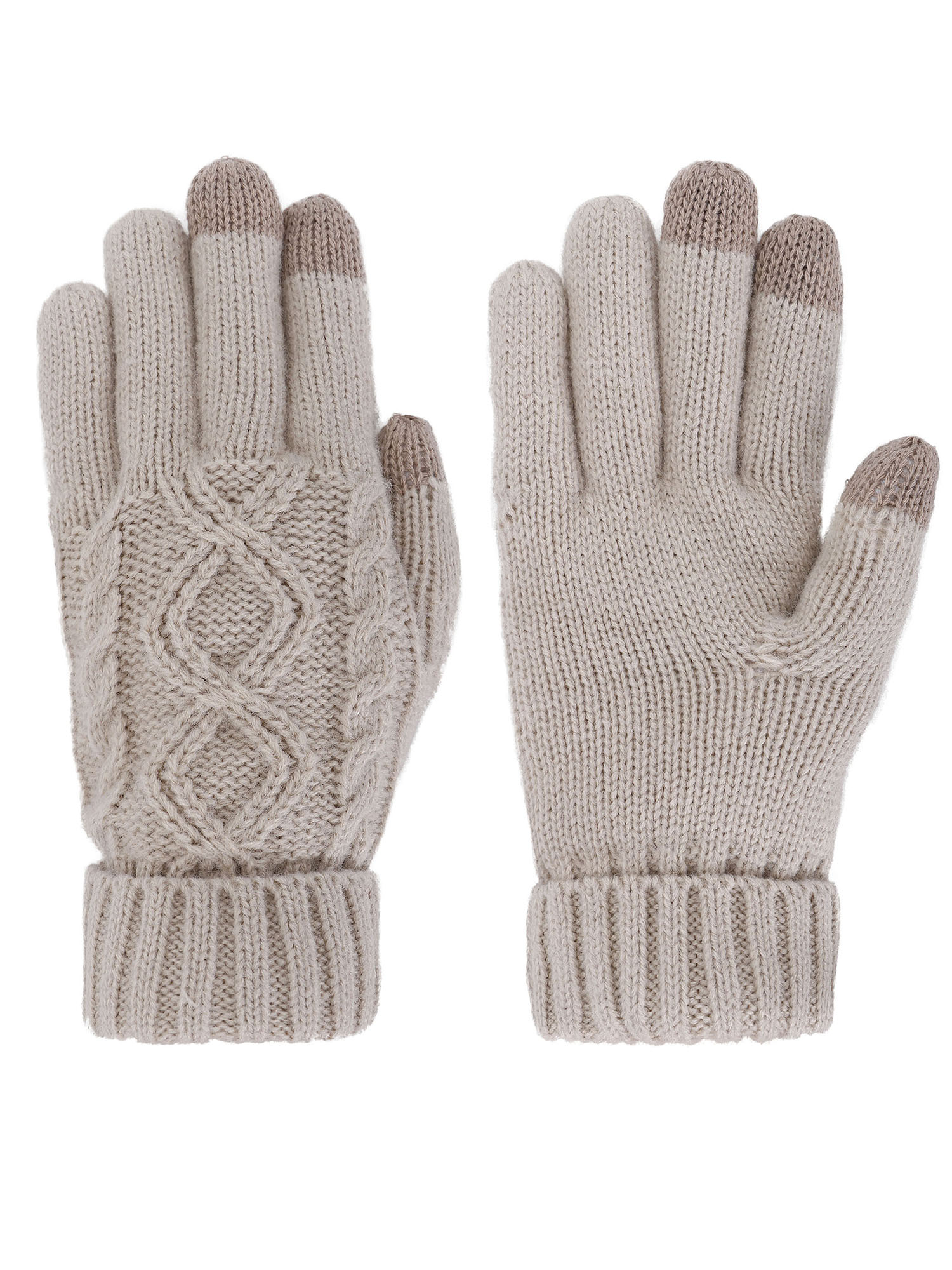 Women's Three Fingers Touchscreen Knit Gloves, Medium_Latte