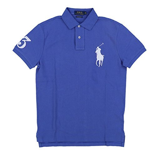 Polo Ralph Lauren Mens Big Pony Custom Slim Fit Mesh Polo Shirt (Small, Blue)