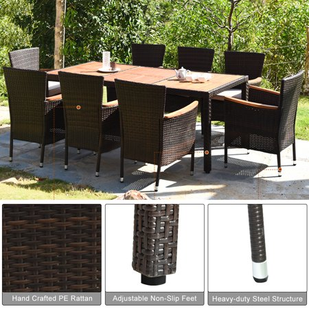 9PCS Patio Rattan Dining Set  8 Chairs Cushioned Acacia Table Top - image 1 of 9