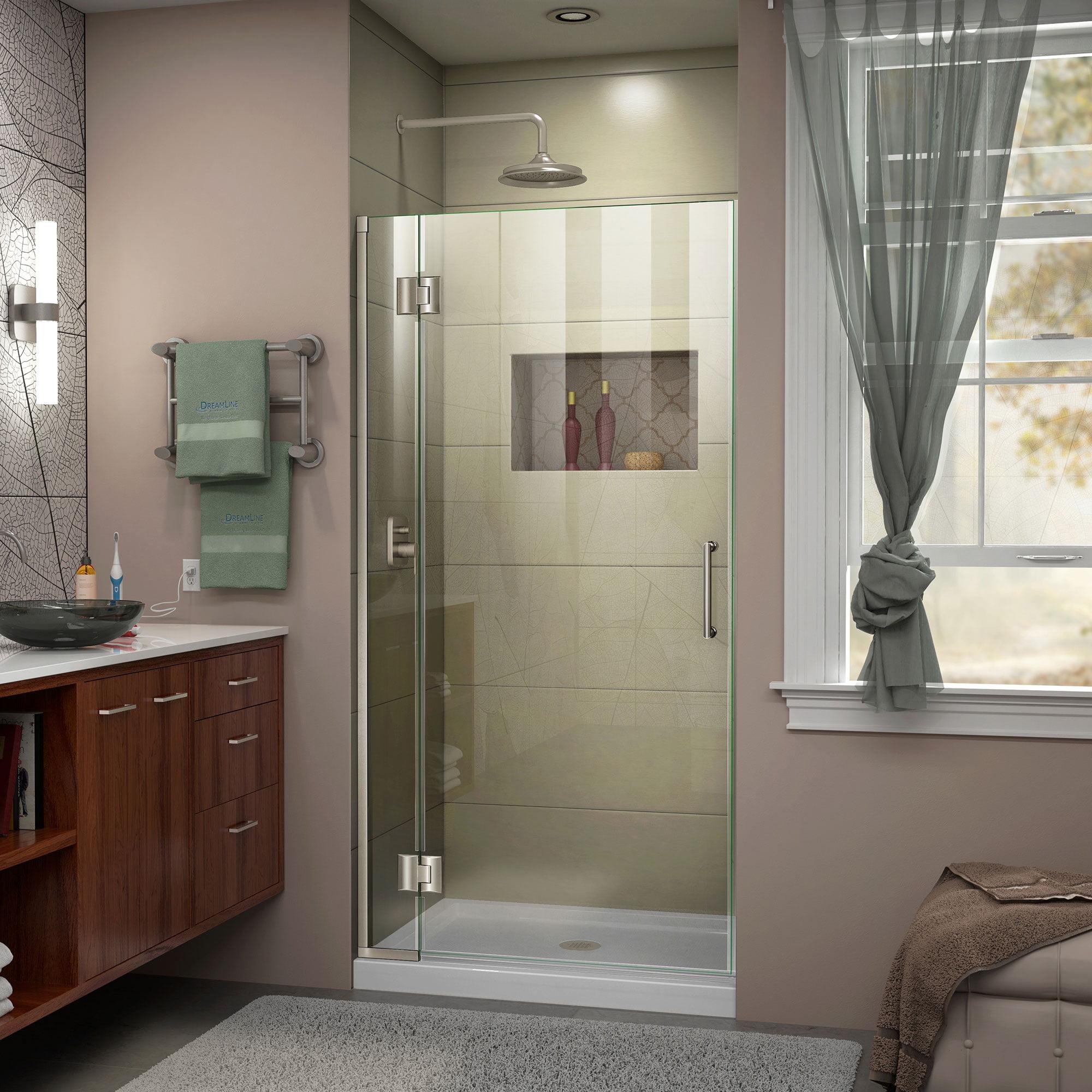 DreamLine Unidoor-X 31 in. W x 72 in. H Frameless Hinged Shower Door in Brushed Nickel