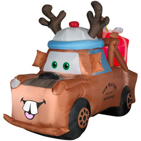4.5' Mater W/ Reindeer Hat And Present - Blow Up Reindeer Decorations