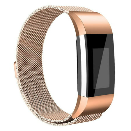 Vancle Band for Fitbit Charge 2 Milanese Loop Stainless Steel Metal Bands with Magnet Lock Without Tracker(Rose (Lock Band)