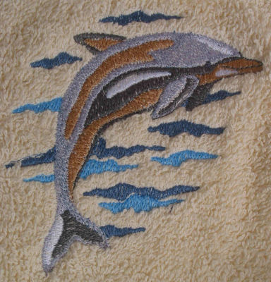 Big Black Horse Embroidered Jumping Dolphin Towel Set - White