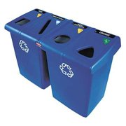 RUBBERMAID COMMERCIAL 256R73 Rectangular Recycle Station 92 gal., Blue