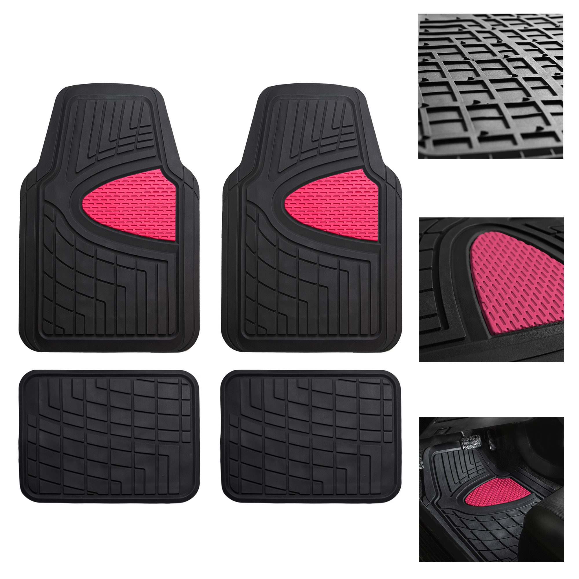 FH Group Premium Tall Channel Rubber Floor Mats for Auto with Free Gift, 7 Colors