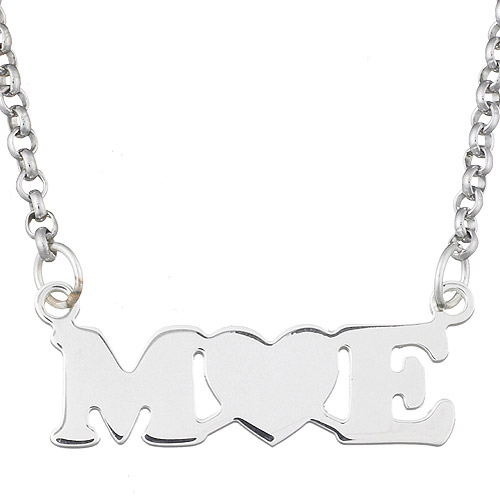 Personalized Couples Initial Heart Sterling Silver Necklace