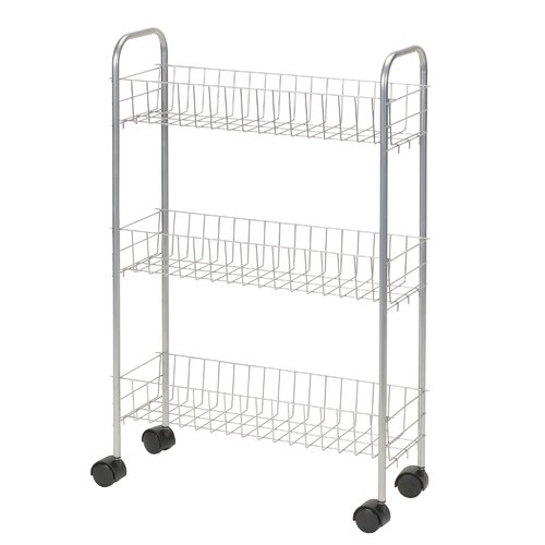Household Essentials 3-Tier Slimline Rolling Rack, White by Household Essentials LLC