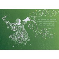 Designer Greetings White Angel with Trumpet Box of 18 Religious Christmas Cards