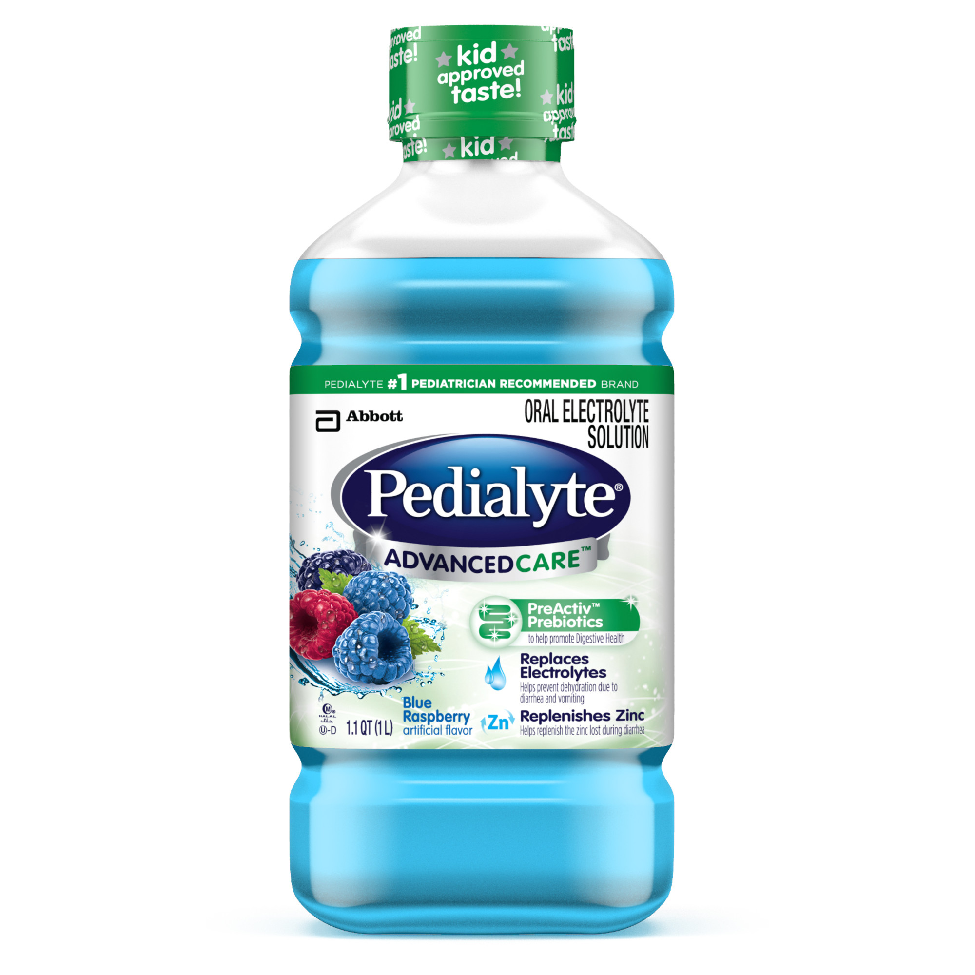 Pedialyte Advanced Care Oral Electrolyte Solution, Blue Raspberry, 1-L