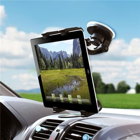 iPad Pro Car Mount Windshield Holder Swivel Cradle Stand Window Glass Dock Strong Suction Multi-Angle Rotation -