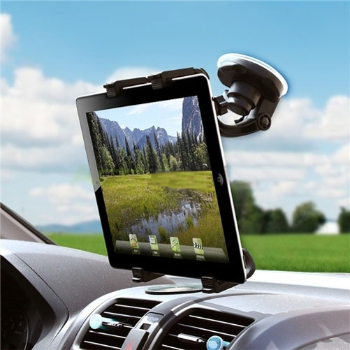iPad Pro Car Mount Windshield Holder Swivel Cradle Stand Window Glass Dock Strong Suction Multi-Angle Rotation V5Q
