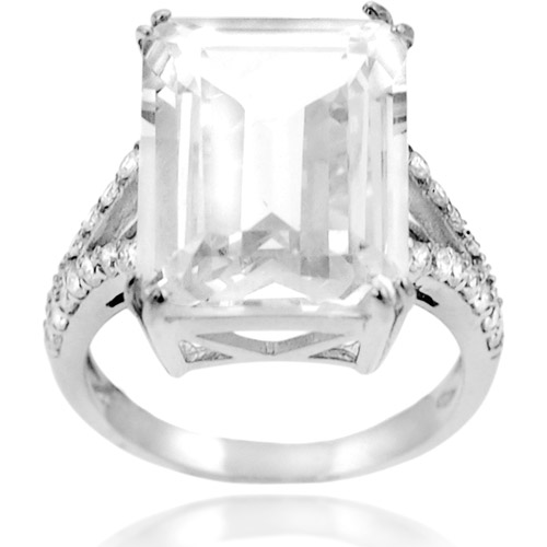 Alexandria Collection Sterling Silver Emerald-Cut Cubic Zirconia Engagement Ring