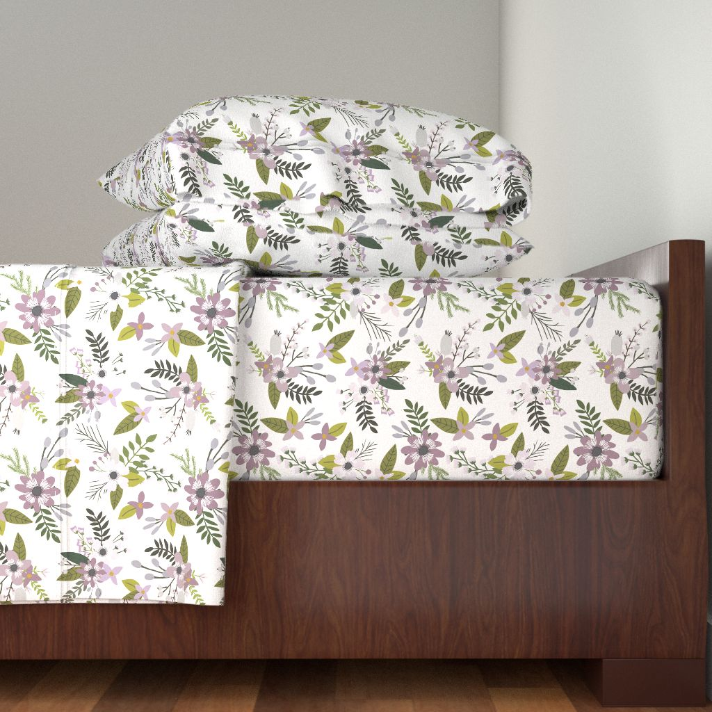 Lavender Floral Flowers Purple Lavender 100% Cotton Sateen Sheet Set by Roostery
