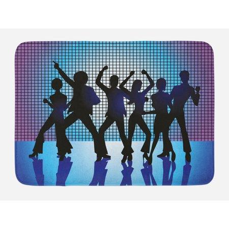 70s Party Bath Mat, Silhouettes of Couples Dancing in Night Club Energetic Classic Art Print, Non-Slip Plush Mat Bathroom Kitchen Laundry Room Decor, 29.5 X 17.5 Inches, Aqua Black Purple, Ambesonne