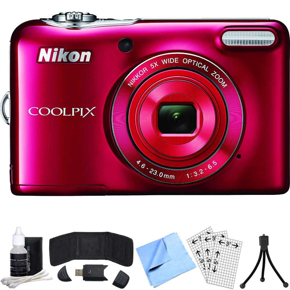 Nikon COOLPIX L32 20.1MP 720P HD Digital Camera (Red) Refurbished Bundle includes COOLPIX L32, Card Reader, Mini Tripod, Screen Protectors, Cleaning Kit, Memory Card Wallet and Beach Camera Cloth