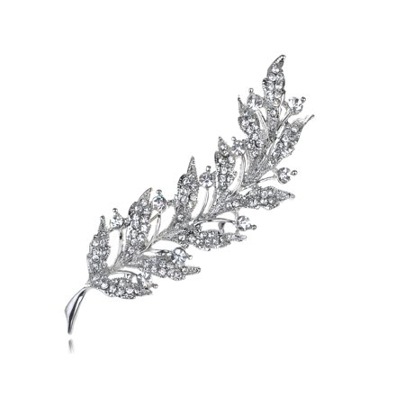 Feather Leaf Clear Crystal Rhinestone Sliver Tone Holiday Pin Brooch