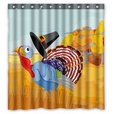 YKCG Cute Cartoon Turkey Escapes From The Arrows And Loses Happy Thanksgiving Shower Curtain Waterproof Fabric