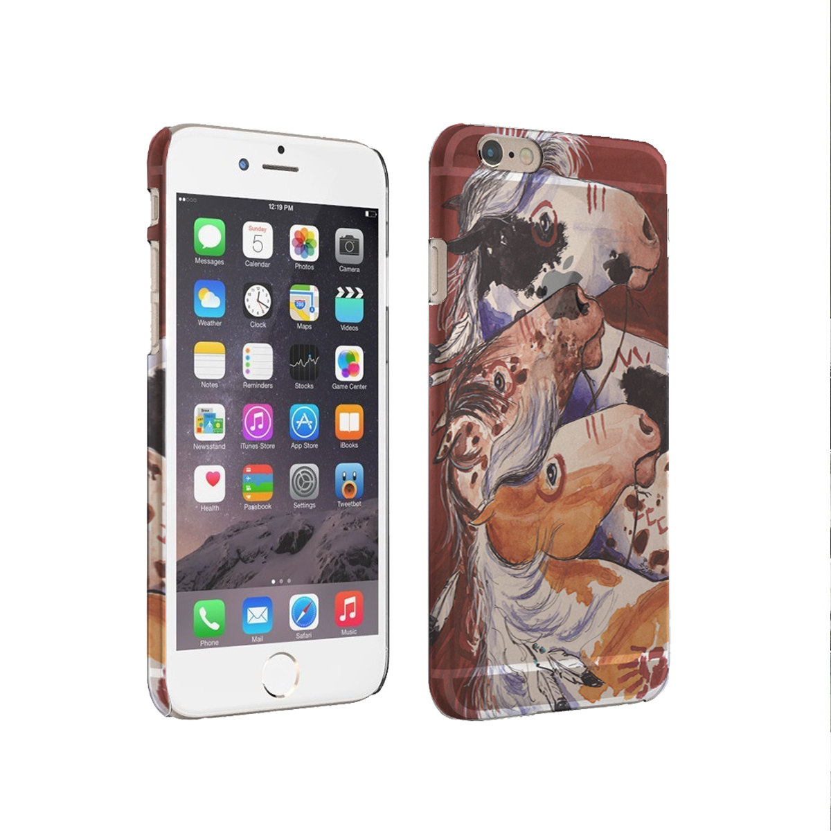 KuzmarK iPhone 6 Plus Rubber Cover Case - Pinto and Appaloosa Indian War Ponies Horse Art by Denise Every