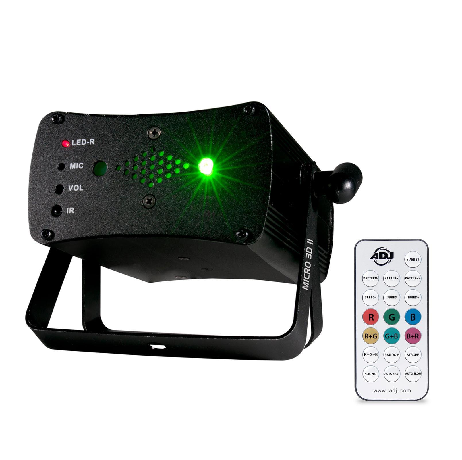 American DJ Micro 3D II Green & Red Laser Lighting Effect w  Wireless IR Remote by ADJ