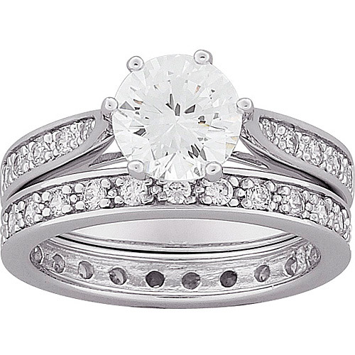 4.7 Carat T.G.W. Round CZ Wedding Ring Set in Sterling Silver