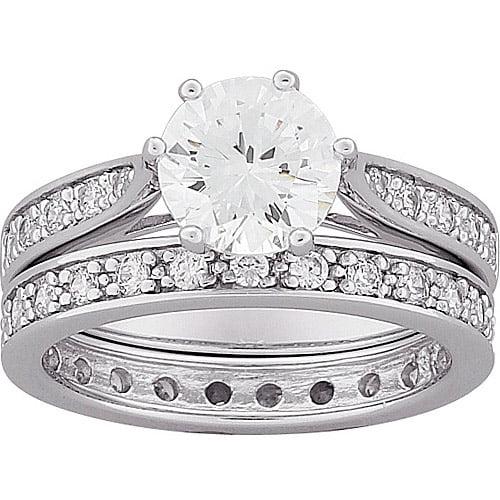 4.7 Carat T.G.W. Round CZ Wedding Ring Set in Sterling Silver