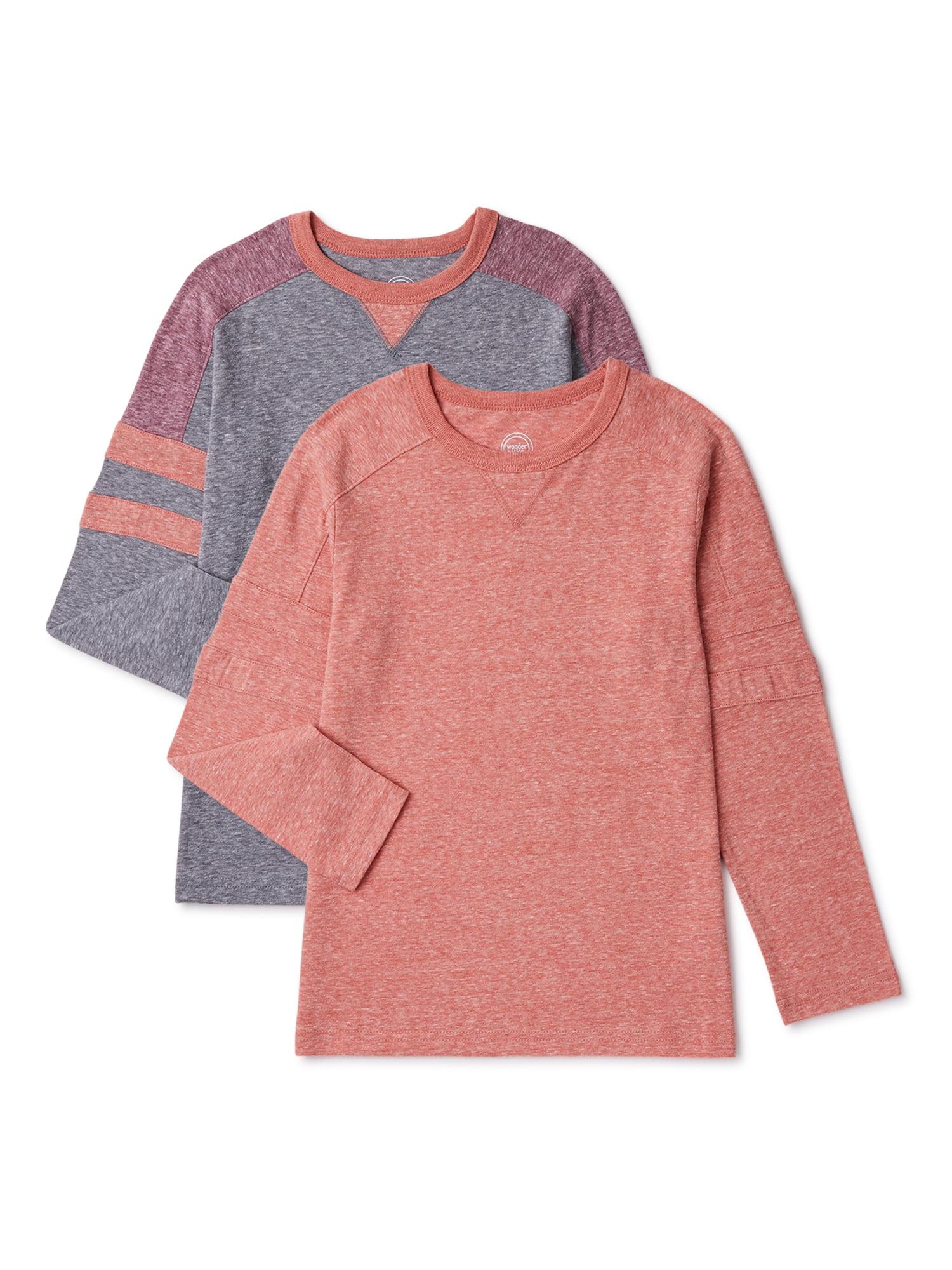 Wonder Nation Boys Sleeve Stripe Long Sleeve T-Shirt 2 Pack Sizes 4-18 & Husky