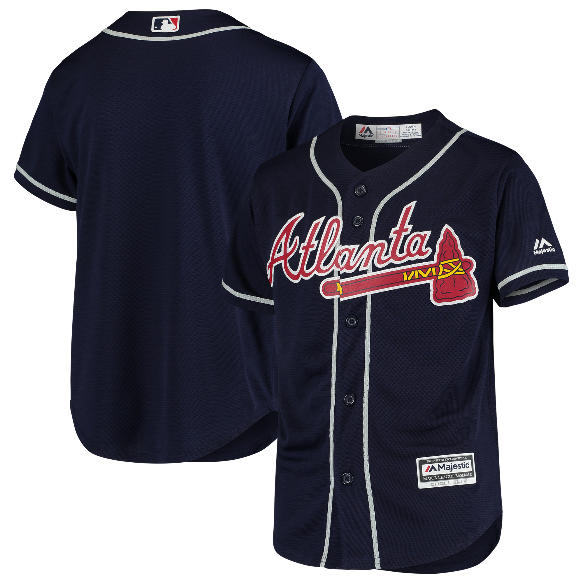 Atlanta Braves Majestic Youth Official Cool Base Team Jersey - Navy