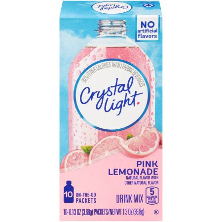 (6 Pack) Crystal Light On-the-Go Pink Lemonade Drink Mix, 10 Packets