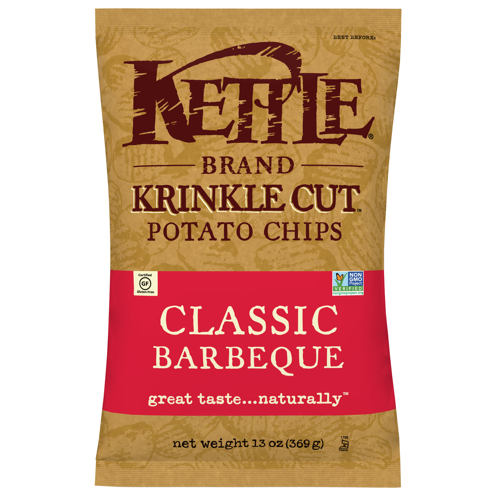 Kettle Brand Krinkle Cut Potato Chips, Classic Barbeque, 13 Oz