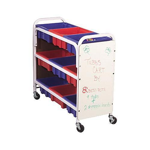 Balt TuBBie Tower-Shelf Cart w/Tubs And Dry-Erase Side Pa...