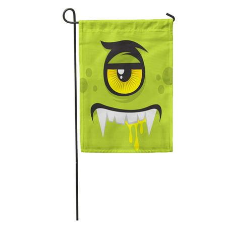LADDKE Green Halloween Cartoon Expression Monster Face Eye Cute Creature Character Garden Flag Decorative Flag House Banner 12x18 inch (Halloween Faces Cartoon)