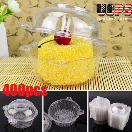 400 PCS Clear Plastic Cupcake Box Single Cake Case Muffin Pod Dome Holder Container for Sandwich Hamburgers fruit Salad Party Favor Cake Holder Muffin Case Cups Pod - Single Cupcake Boxes