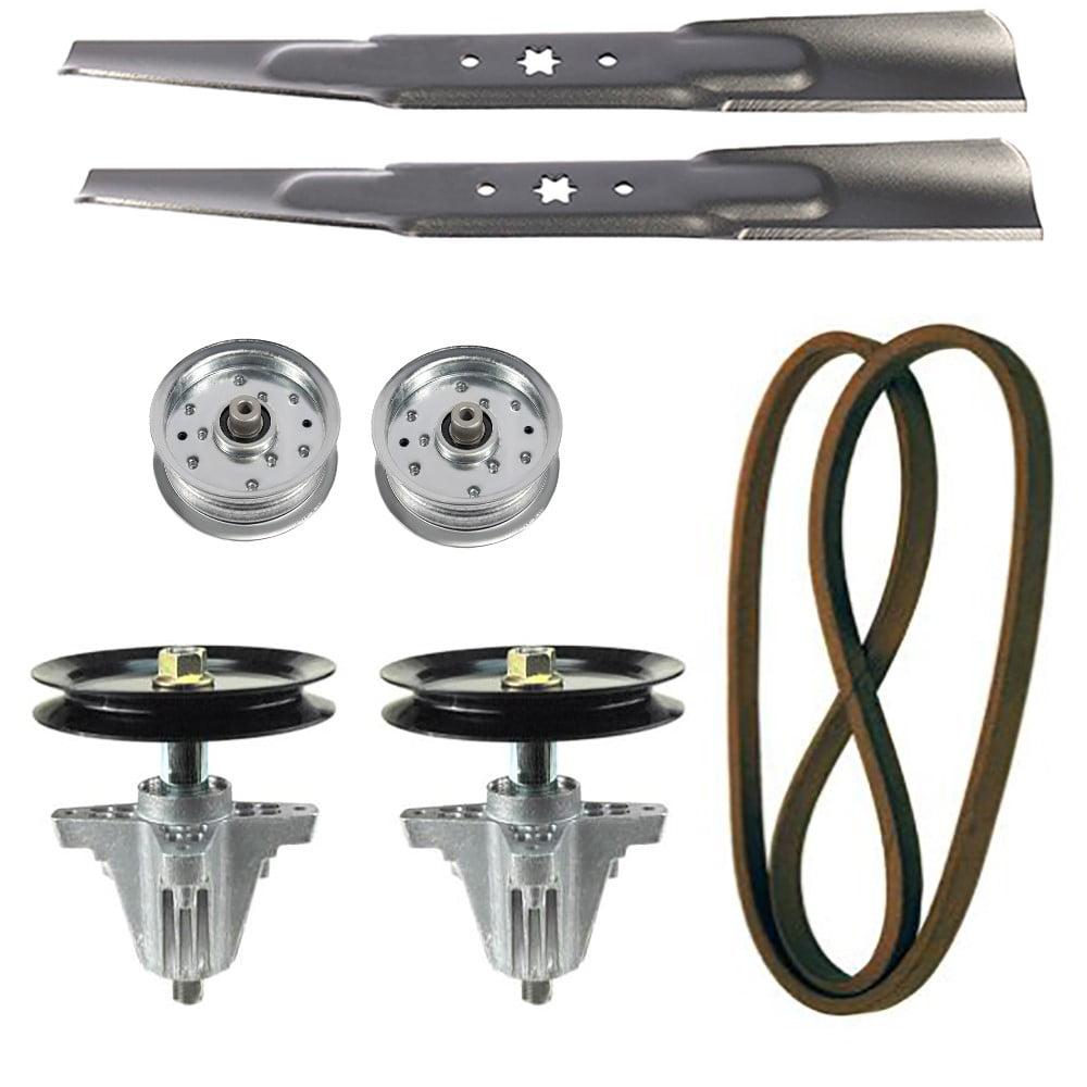 Rasenm/äher Deck Rebuild Kit kompatibel mit Cub Cadet Modellen LTX1045 LTX1046 LTX1046VT kompatibel mit 2 Spindeln 618-04865 1 Riemen 954-04219 2 Klingen 942-04244 2 flache Umlenkrollen 753-08171