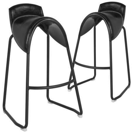 Santa Fe Flash Furniture 2 Pk. Saddle Chair Barstool in Black Vinyl ()