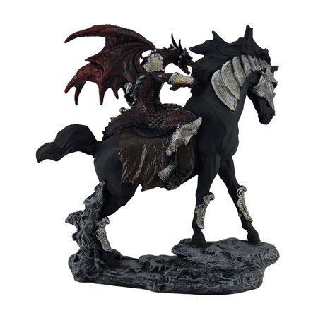 Tarragon Traveler Red Dragon Knight w/Sword On Armored Black Stallion Statue - image 3 of 4