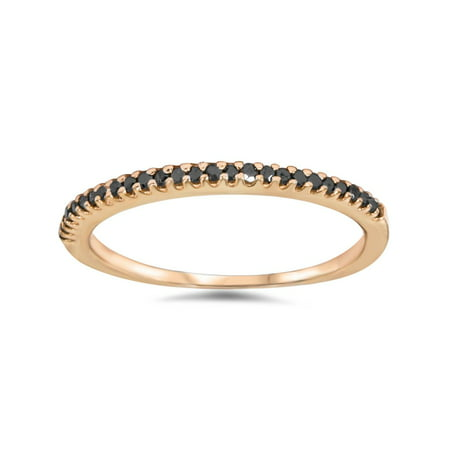 1/10ct Treated Black Diamond Stackable Ring 14K Rose Gold