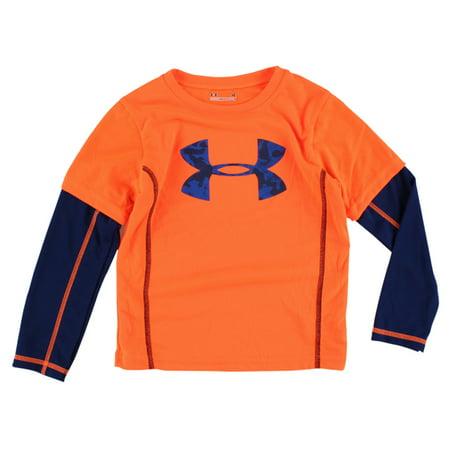 Under armour boys arctic ridge slider shirt orange for Under armour shirts at walmart