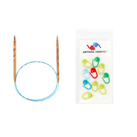 Addi Lace Turbo Circular Needles - addi Bundle: Olive Wood Circular 40-inch (100cm) Knitting Needles with 10 Artsiga Crafts Stitch Markers