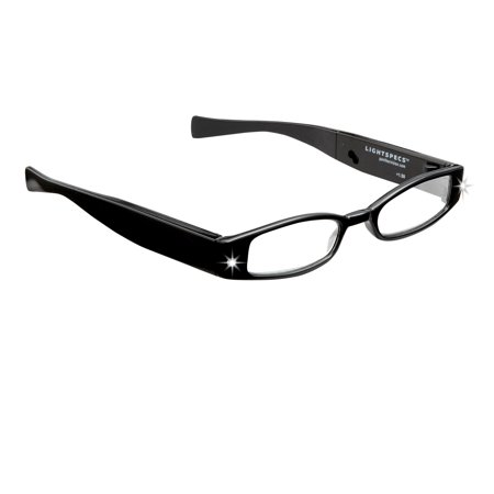 LightSpecs Rechargeable Reading Glasses with LED lights +2.50 Power, Black, w/Glasses Case & USB Wall Adaptor - Glasses With Led